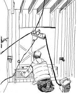 Robert Murray the plumber is installing a radiator in the Folly. Robert has a special way of folding his feet under him