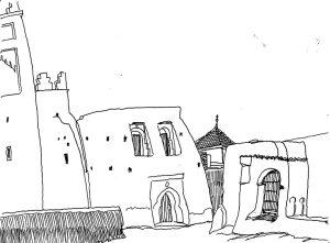 historische strip de tranen van Illigh. De typische architectuur van Iligh die aan gebouwen in Mali doet denken