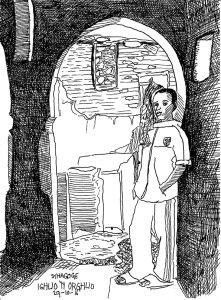 historische strip de tranen van Illigh. De synagoge van Ighlio 'N Orglio die helaas tijdens het noodweer van 2015 is ingestort.